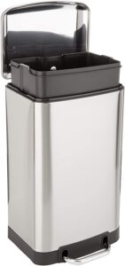 AmazonBasics Rectangle Soft-Close Trash Can with Steel Bar Pedal