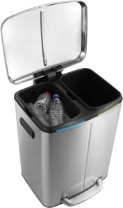happimess HPM1005A Open Double Bucket Garbage Bin with Soft Close Step, Durable Steel Pedal for Home, Office, Kitchen Trash Can, 10.5 Gallon, Silver