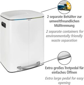 WENKO Primo Dual Compartment Waste Bin