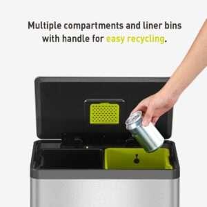 EKO EcoCasa II Dual Compartment Rectangular Kitchen Step Trash Can Recycler